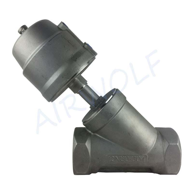 "2/2 Way Angle Seat Valve 3"" stainless steel actuator threaded double/single Acting piston valve"