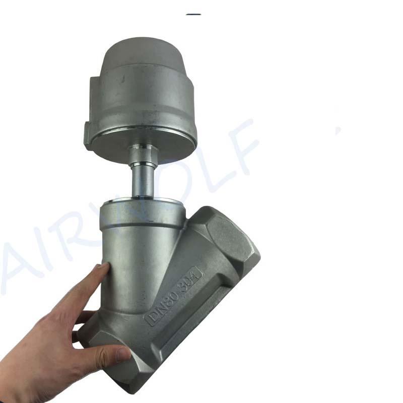 "2/2 Way Angle Seat Valve 3"" stainless steel actuator threaded double/single Acting piston valve"