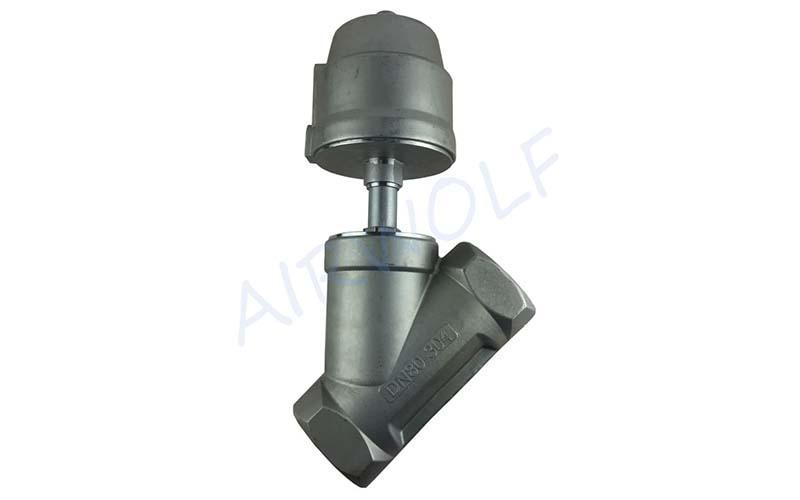 AIRWOLF single pneumatic angle seat valve threaded