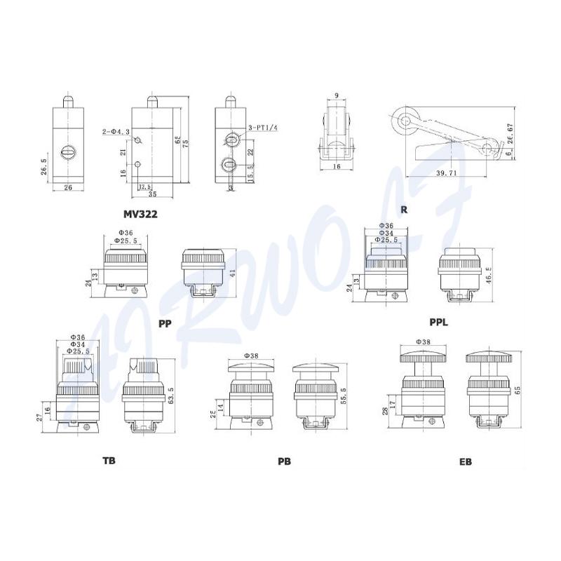 AIRWOLF slide pneumatic push button valve flat bulk production-6