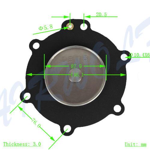 AIRWOLF green diaphragm valve repair kit pneumatic textile industry-3